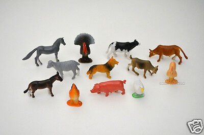 12 Mini Farm Barn Yard Animal Figures Party Goody Loot Bag Filler Favor Supply