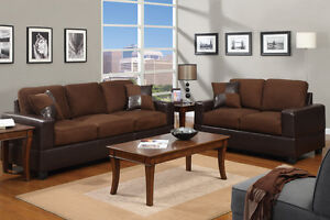 5pc Modern Micro suede Sofa and Love Seat Living Room Furniture Set - Chocolate