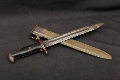 WWII US Union Fork & Hoe M1 Garand Rifle Knife Bayonet Plastic Grips & Scabbard