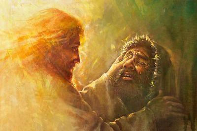 Yongsung Kim HEALING THE BLIND MAN 12x18 Canvas Giclee Art Print Jesus Heals - Jesus Heals Blind Man