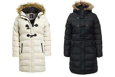 Womens Faux Fur Trim Lined Hooded Full Zip 3 Toggle Buttons Winter Autumn Jacket Trim Hooded Toggle