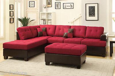 - Three Piece Sectional Set Carmine Color Sofa Chaise Ottoman Living Room Furnitur