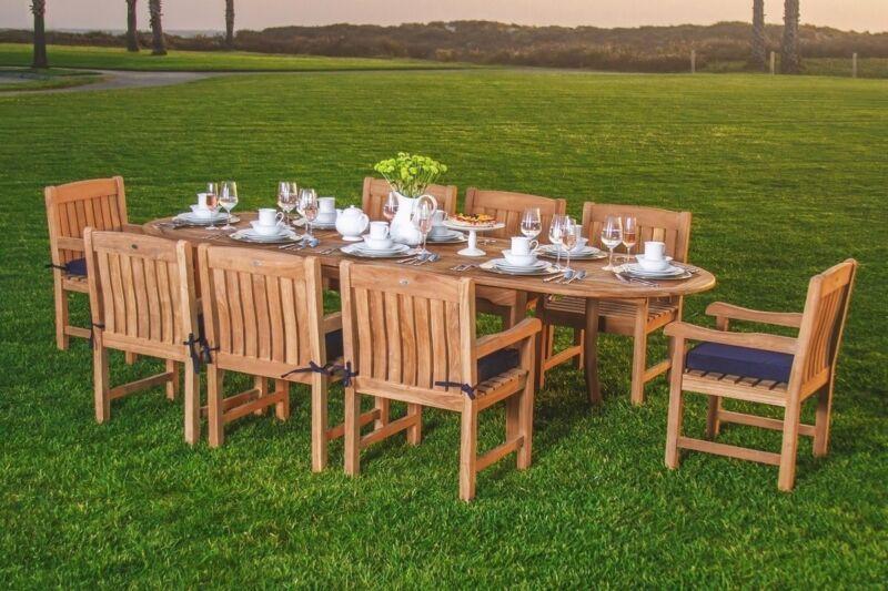 "Devon Gradea Teak 9pc Dining 94"" Oval Table 8 Arm Chair Set Outdoor Garden Patio"