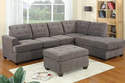 3pc Reversible Grey Modern Sectional Sofa Set w/ Ottoman- Furniture Sofa
