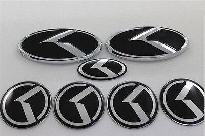 New 7Pcs Black 3D Logo Emblem Badge Sticker Full Set For Kia K5 Optima 2011 2016