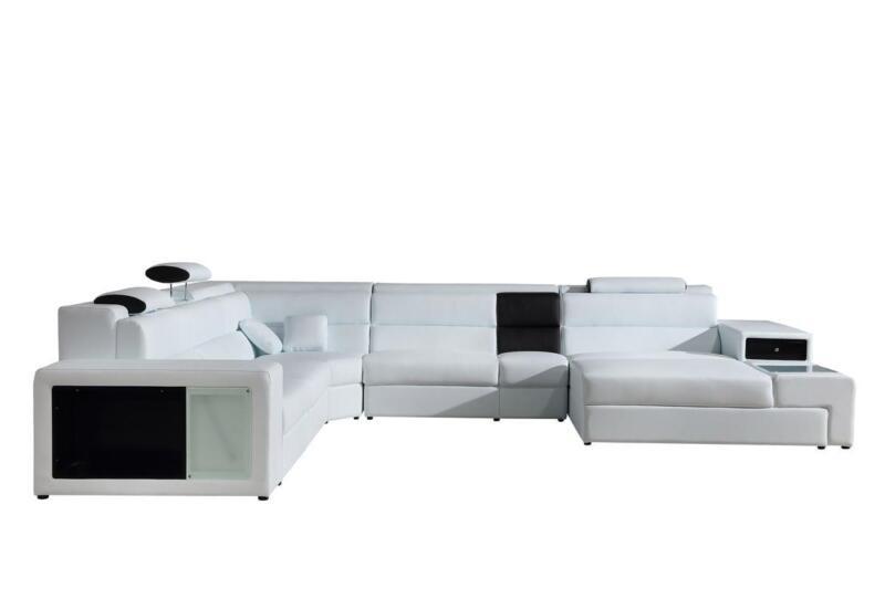 Contemporary White Bonded Leather Corner Sectional Sofa Right Soflex Dallas