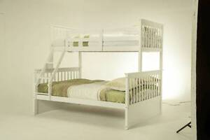 Emma Bunk Bed Single on Double White Finish Bed frame Kids Mel Melbourne CBD Melbourne City Preview