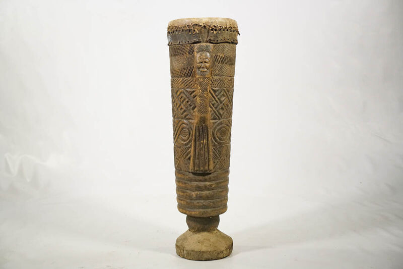 """Enticing Hand Carved Kuba Drum 31"""" - DRC - African Art"""