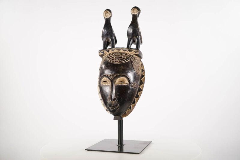 "Baule/Yaure Mask w Superstructure 17"" - Ivory Coast - African Art"