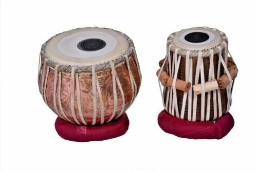 Copper Tabla Set Flower Carving Dayan in Quality Wood INDIAN MUSICAL INSTRUMENT