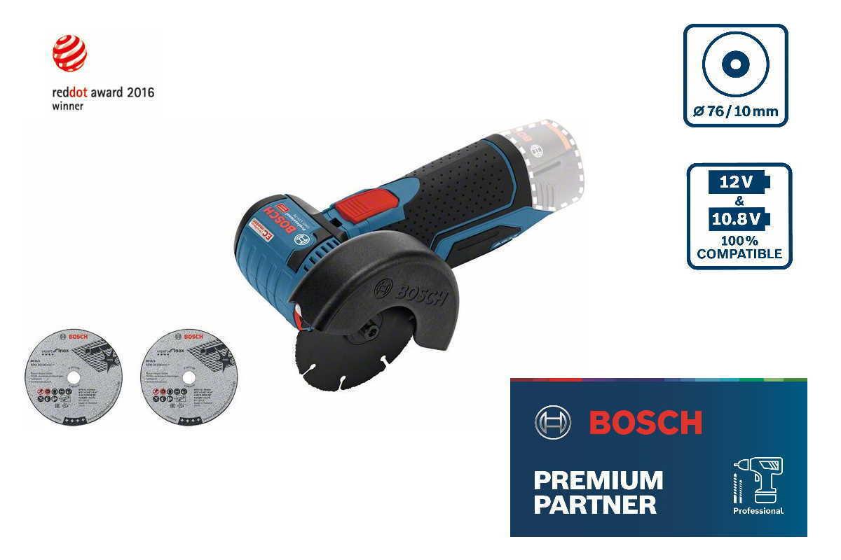 Bosch Akku-Winkelschleifer GWS 12V-76 Solo mit Zubehör und Einlage f. L-Boxx