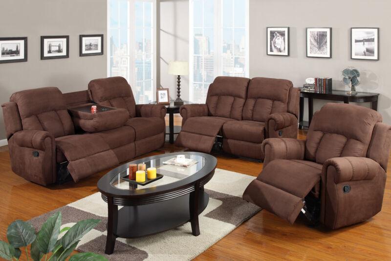 Chocolate Motion Sofa set Microfiber sofa furniture 3 Pcs Living room Sofa Couch