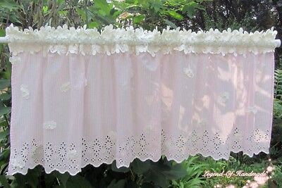 Lovely Striped Cotton Fabric Cafe Curtain~Pink&White~Princess Boudoir~ORIGINAL~