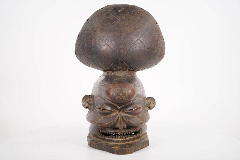 "Expressive Chokwe African Mask 14"" - DRC"