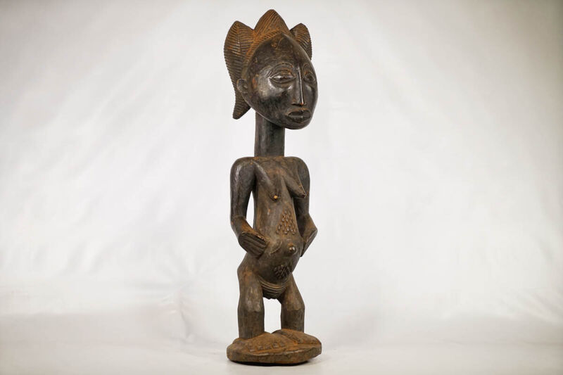 "Beautiful Luba Female Wooden Statue 38"" - DR Congo - African Art"
