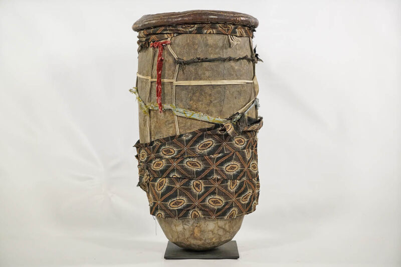 "Authentic Carved Yoruba Drum 23.5"" with Base - Nigeria - African Art"