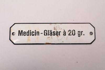 Medicin-Gläser a 20gr Enamelled Colonial Krämmerladen Medicine Approx. 1900