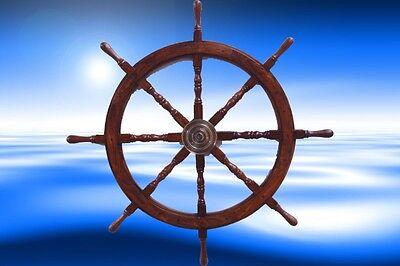 Schiffs Ruder massiv Teakholz Maritime Dekoration Steuerrad Geschenk Wand Deko