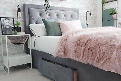 Woodbury Grauer samt Super King Size Bett mit Schubladen 180cm 6ft Schlafzimmer King-size-bett Schubladen