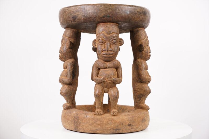 "Gorgeous Bamun Stool 16.5"" - Cameroon - African Art"