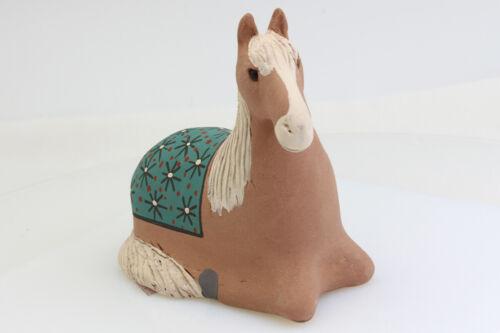 Mata Ortiz Clay Horse Figurine Palomino Blue GreenTextured Fur Blanket Handmade