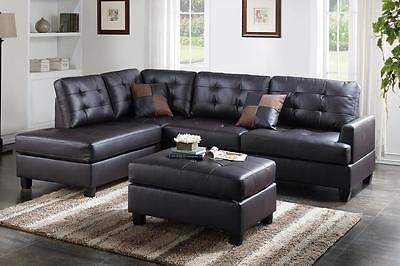 Espresso Faux Leather Sofa - 3PCS Espresso Faux Leather Sectional Ottoman Sofa Set with Reversible L/R Chaise