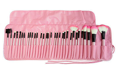 32pcs Professional Soft Cosmetic Eyebrow Shadow Makeup Brush Set + Pouch Bag WH