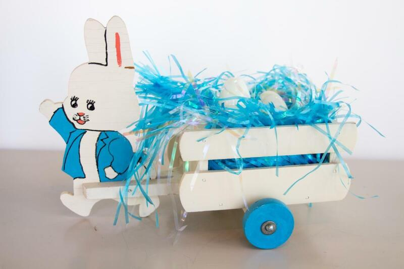 Vintage Easter Wooden Bunny Rabbit Blue Jacket Pulling White Wood Pull Cart