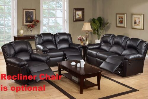 New Black Bonded Leather Modern 2pc Sofa Set Motion Sofa Couch Loveseat Comfort