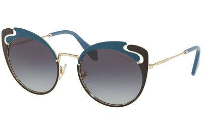 Miu Miu Butterfly Sunglasses MU57TS C05-5D1 Pale Gold Blue Frame W/ Grey (Miu Miu Shades)