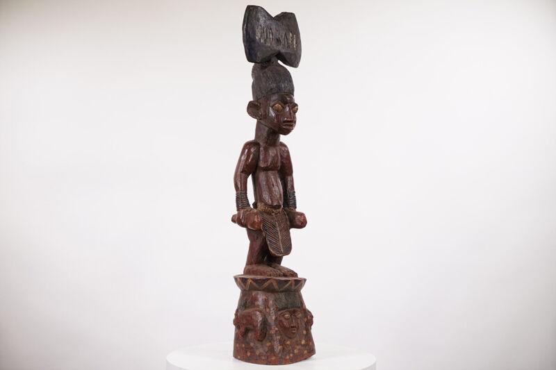 "Beautiful Yoruba Ose Sango Statue 39.5"" - Nigeria - African Art"
