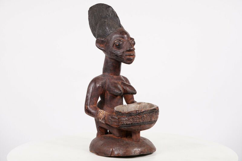 "Yoruba Female Offering Statue 15.5"" - Nigeria - African Art"