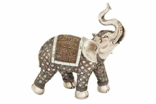 """Urban Designs Global Inspired 10""""H Silver Decorated Elephant Sculpture Decor"""