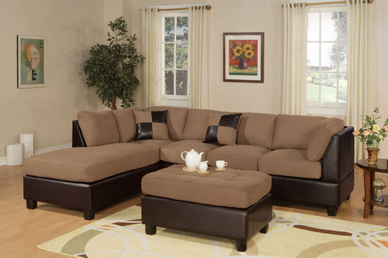 Sectionals Sofa Couch Sectional W/ Ottoman Reversible Chaise Saddle Microfiber