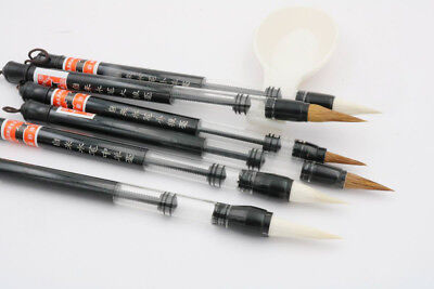 6Pc set Piston Water color Brush Chinese Japanese Calligraphy Pen