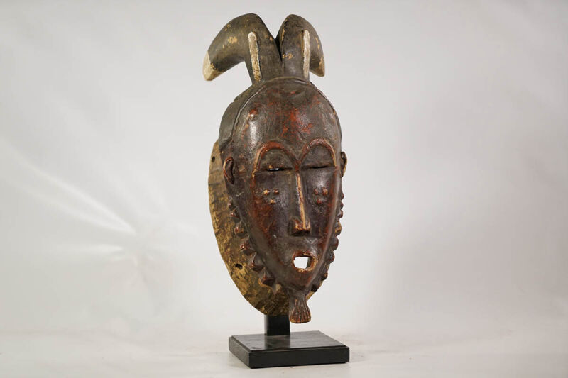 """Baule or Yaure Horned Mask with Stand 18"""" - Ivory Coast - African Art"""