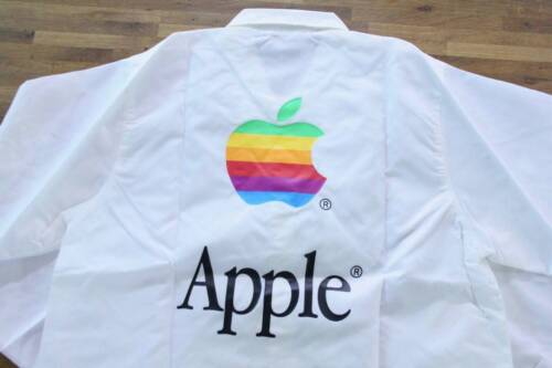Ultra Rare!!! Vintage Apple Computer Rainbow Logo Coach Jacket M Size Macintosh