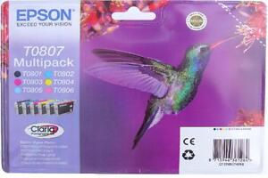 Epson T0807 Hummingbird Genuine Multipack Ink Cartridges Claria TO807 Blister5