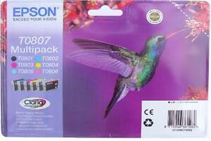 Epson Claria T0807 Hummingbird Genuine Multipack Ink Cartridges GENUINE TO807