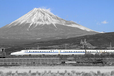 BULLET TRAIN JAPAN ASIA MOUNT FUJI BLACK AND WHITE PRINT POSTER WALL ART A4 Bullet Train Mount Fuji Japan