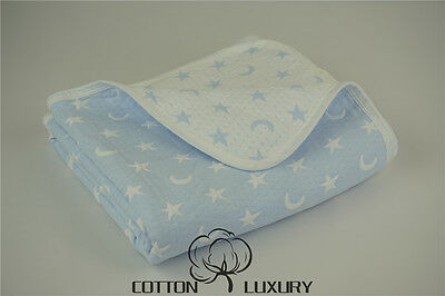 Baby Triple Woven Blanket (New 100% Cotton Reversible baby blankets,Woven,Triple layers,Blue Moon and Star )