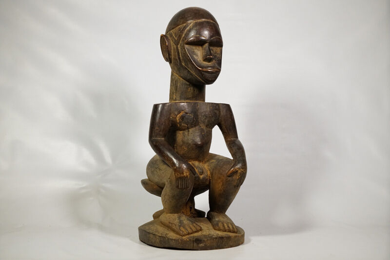 "Male Dan Wooden Statue 26.5"" - Ivory Coast - African Art"