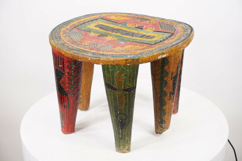 """Colorful Wooden Nupe Stool 11"""" - Nigeria - African Art"""