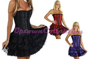 Ladies-Burlesque-Moulin-Rouge-Corset-Skirt-Costume-Black-Red-Purple-Club-Wear