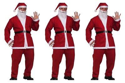 3 Santa Claus SUIT Pub Crawl  Costume 5pc Jacket Pants Belt Hat Beard ONE SIZE  (Pub Crawl Santa Costume)