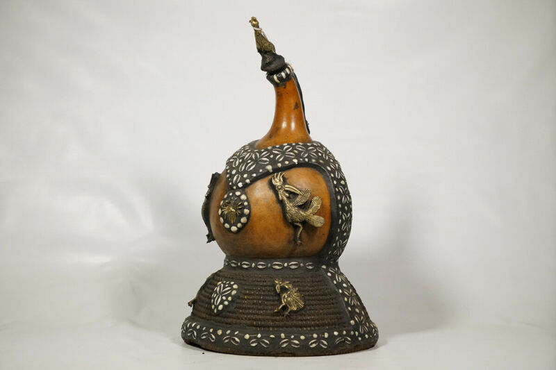 "Beautifully Designed Tikar Calabash 23"" - Cameroon - African Art"