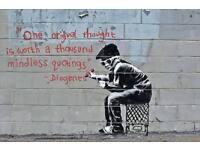 100cm x 85cm Banksy Graffiti One original thought is worth..Wall Stickers Decor