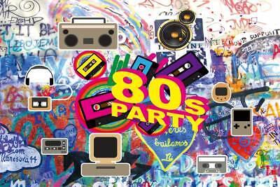 80's Party Photo Backdrops Props vinyl Photography Background Graffiti Photo ](Party Photo Backdrops)