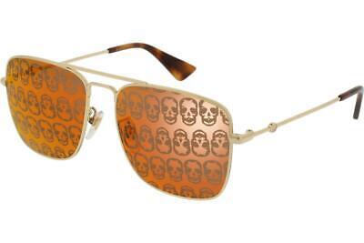 Gucci GG0108S 002 Gold Sunglasses Sonnenbrille Orange Mirror Skull Lenses 55mm