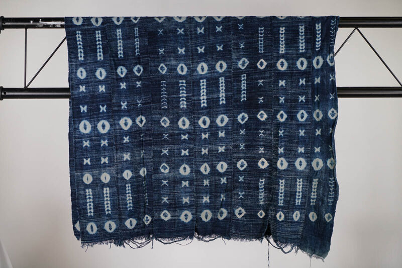 "Indigo Mossi Wax-Resist Textile 62"" x 36""- Burkina Faso"